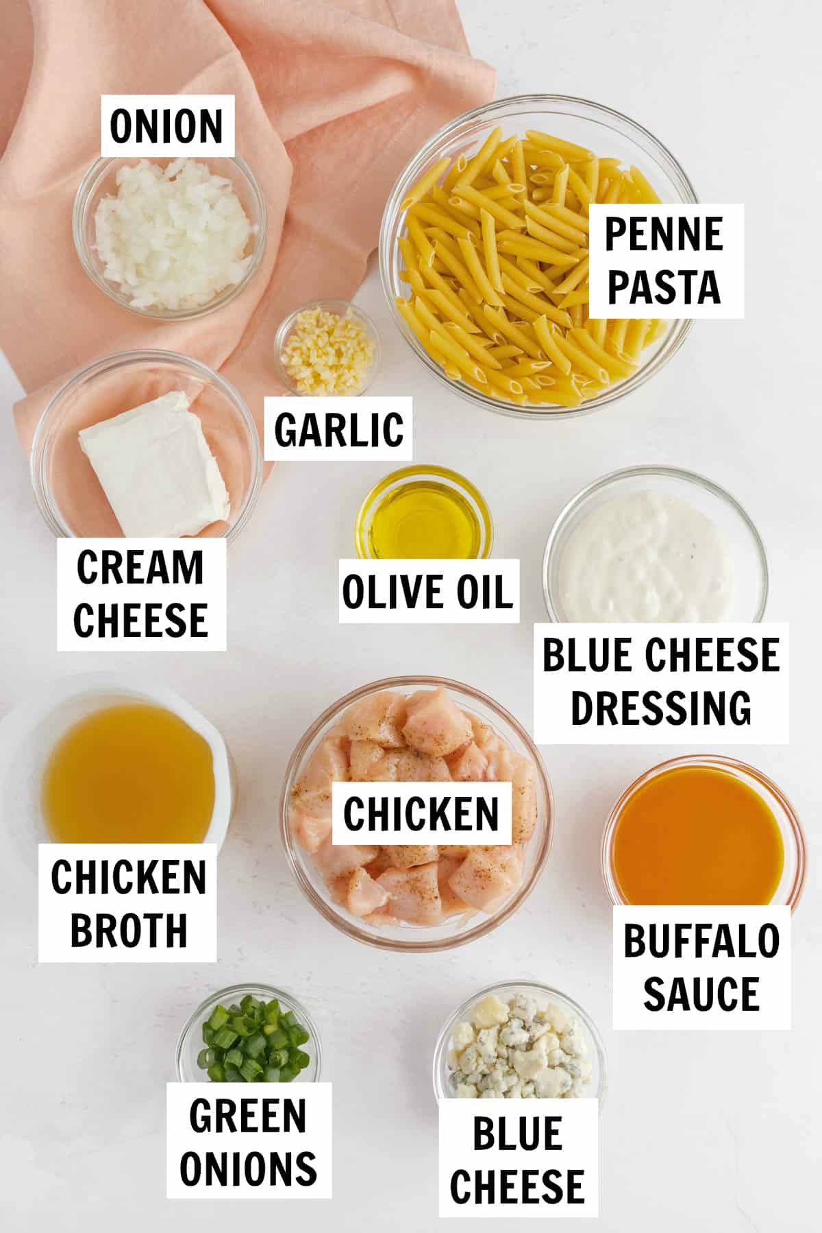 ingredients to make buffalo chicken pasta in bowls