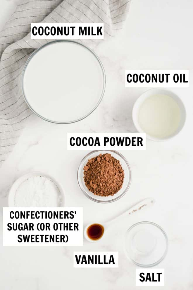 ingredients for chocolate coconut milk ice cream