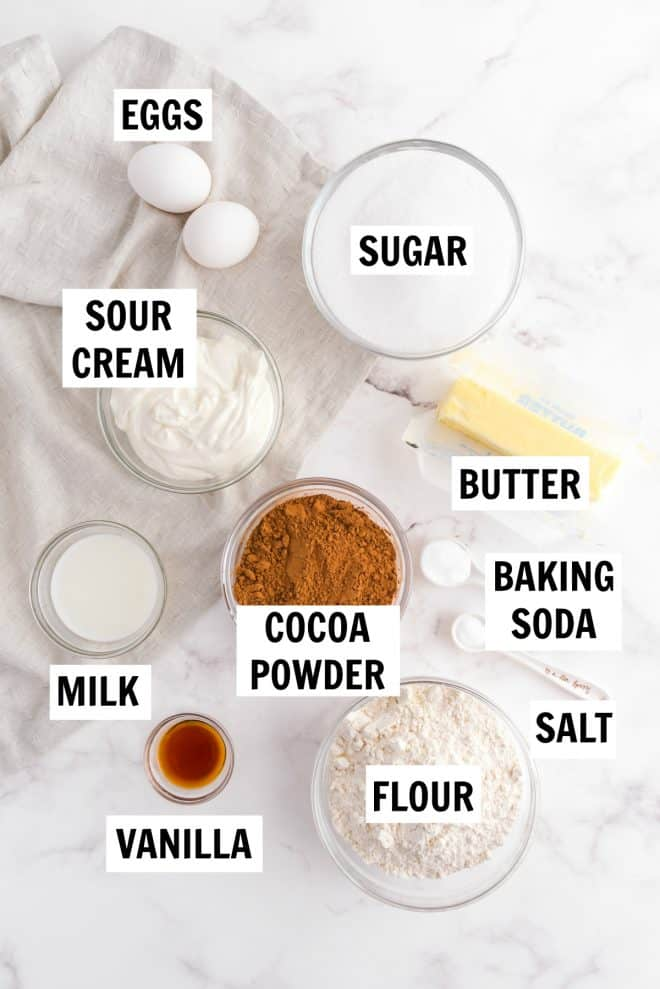 ingredients for chocolate peanut butter cupcakes