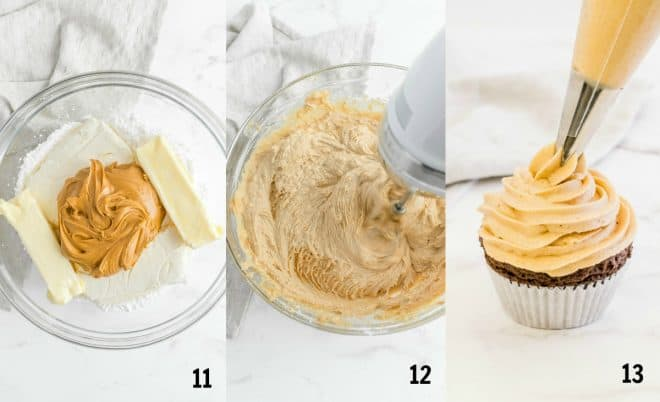mixing the peanut butter frosting in a bowl before pipping onto cupcake