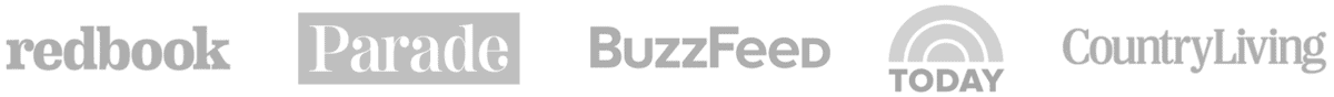 Press Logos: Redbook, Parade, Buzzfeed, TODAY, Country Living