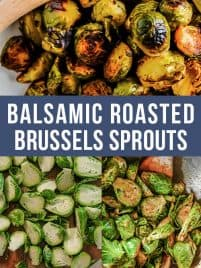 large plate of roasted brussels sprouts with balsamic