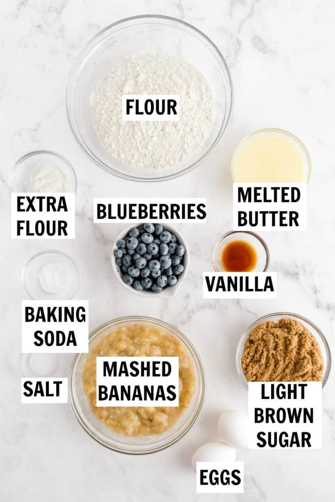 ingredients for blueberry banana bread