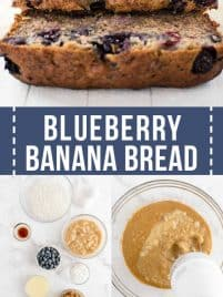 slices of blueberry banana bread