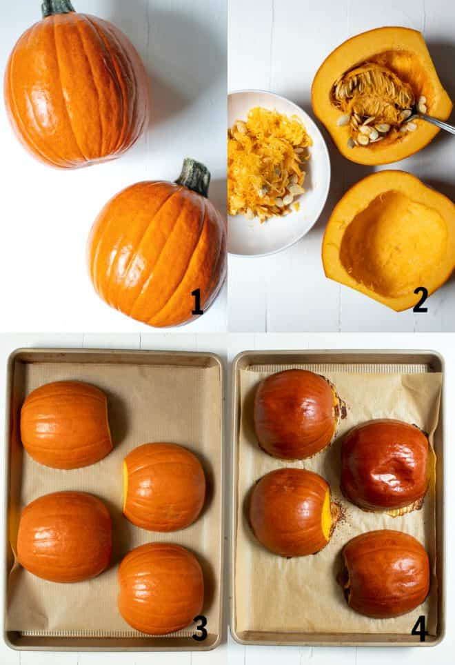scooping out seeds from a sugar pumpkin to roast in the oven