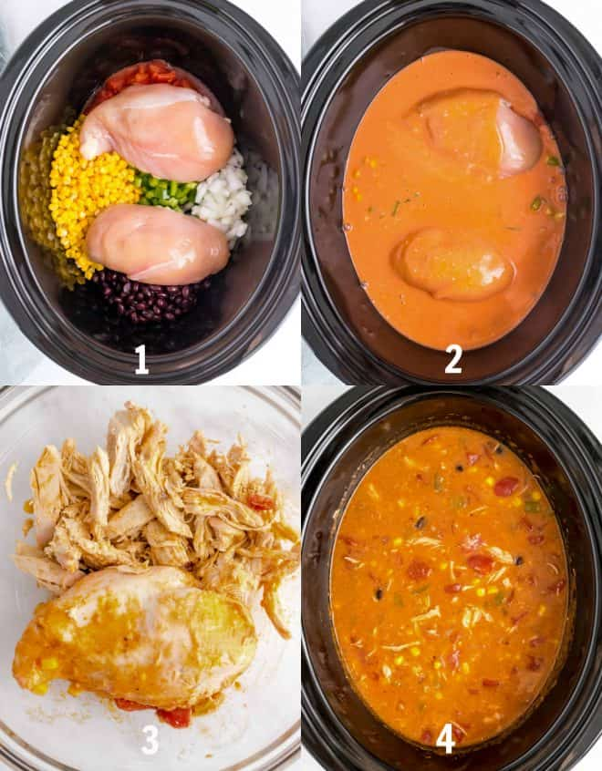 steps to make enchilada soup in the crock pot