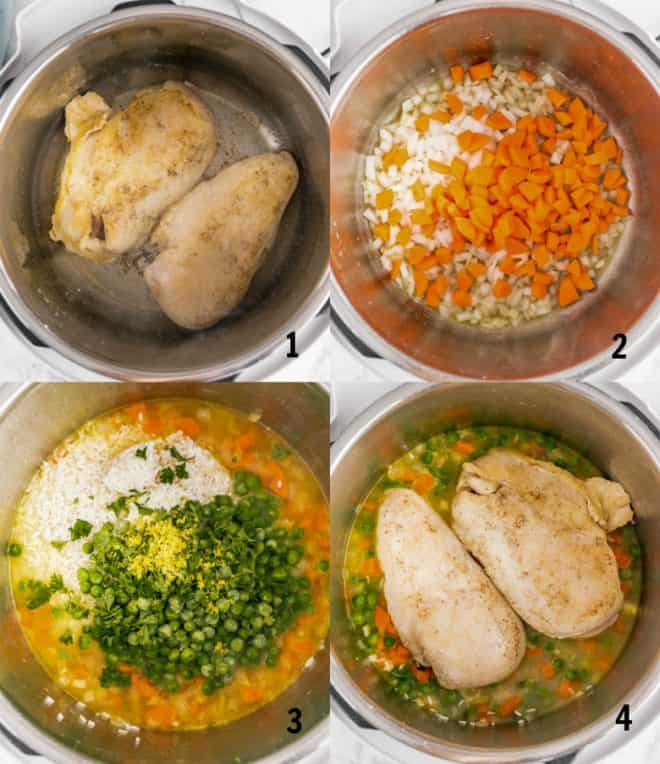 steps to make chicken and rice in a pressure cookier