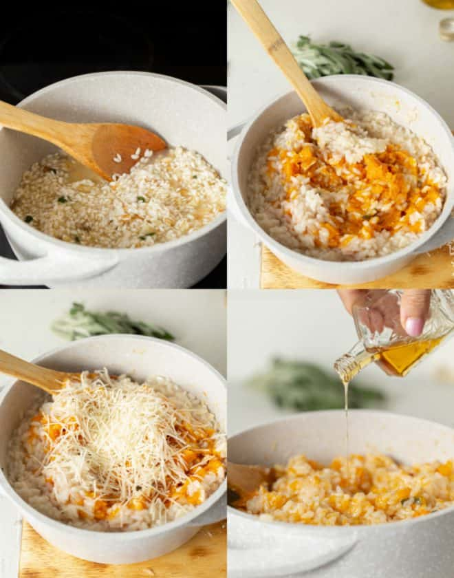 stirring rice and butternut squash in a pan to make risotto