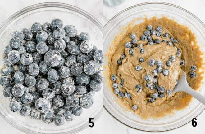 mixing blueberries into bread batter