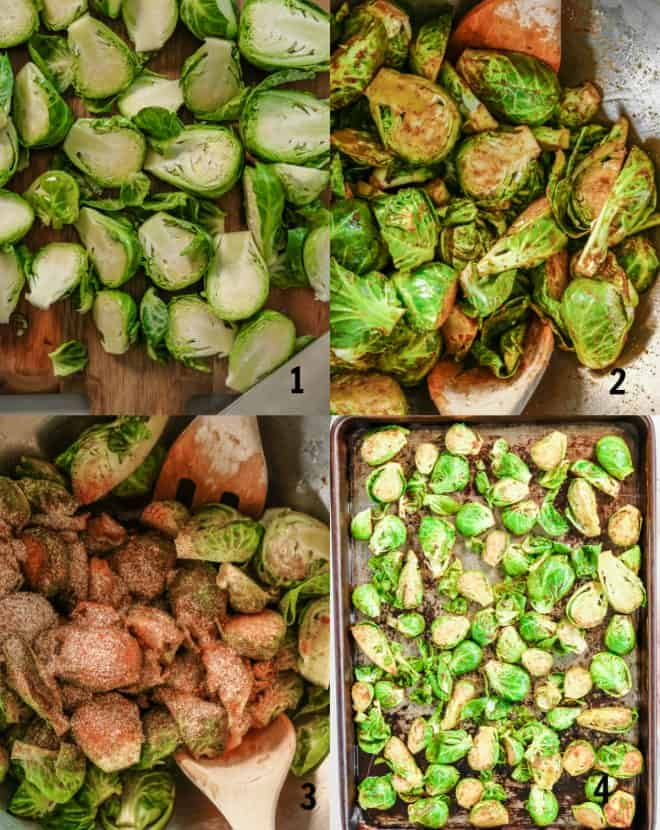 mixing together ingredients for roasted brussels sprouts