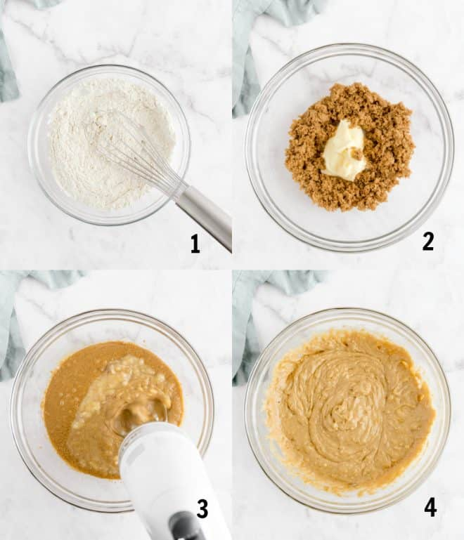 mixing ingredients together for banana bread in a bowl