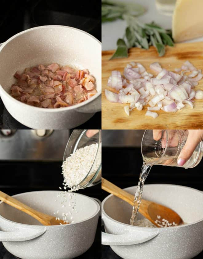 cooking bacon and onions in a pan for risotto