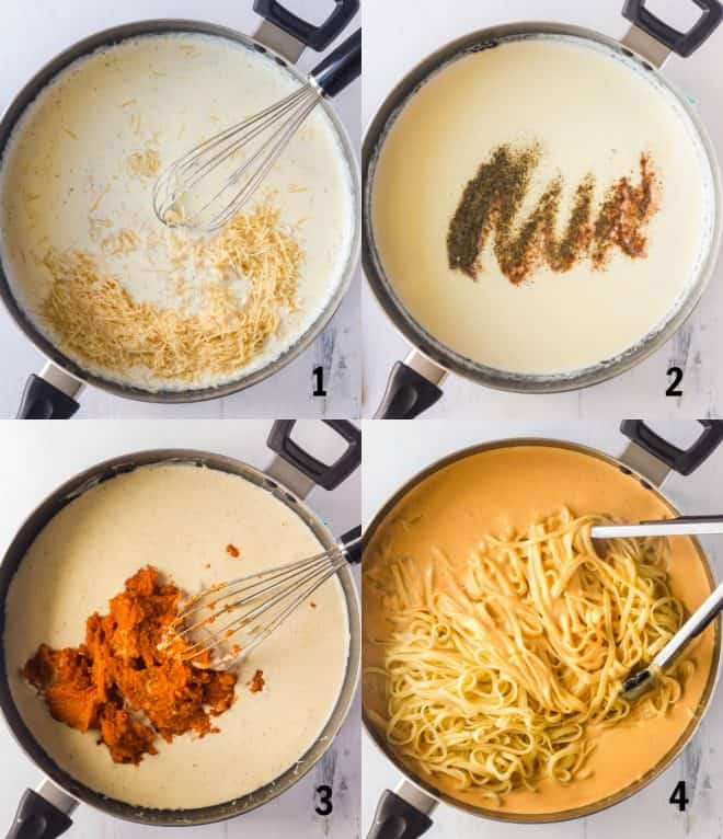 mixing together ingredients fo pasta sauce in a skillet