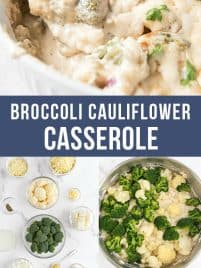 broccoli cauliflower bake in a white baking dish with a spoon
