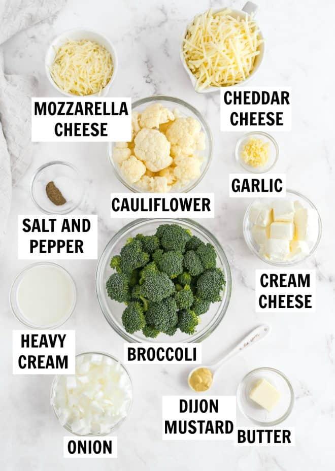 ingredients for broccoli and cauliflower casserole bake