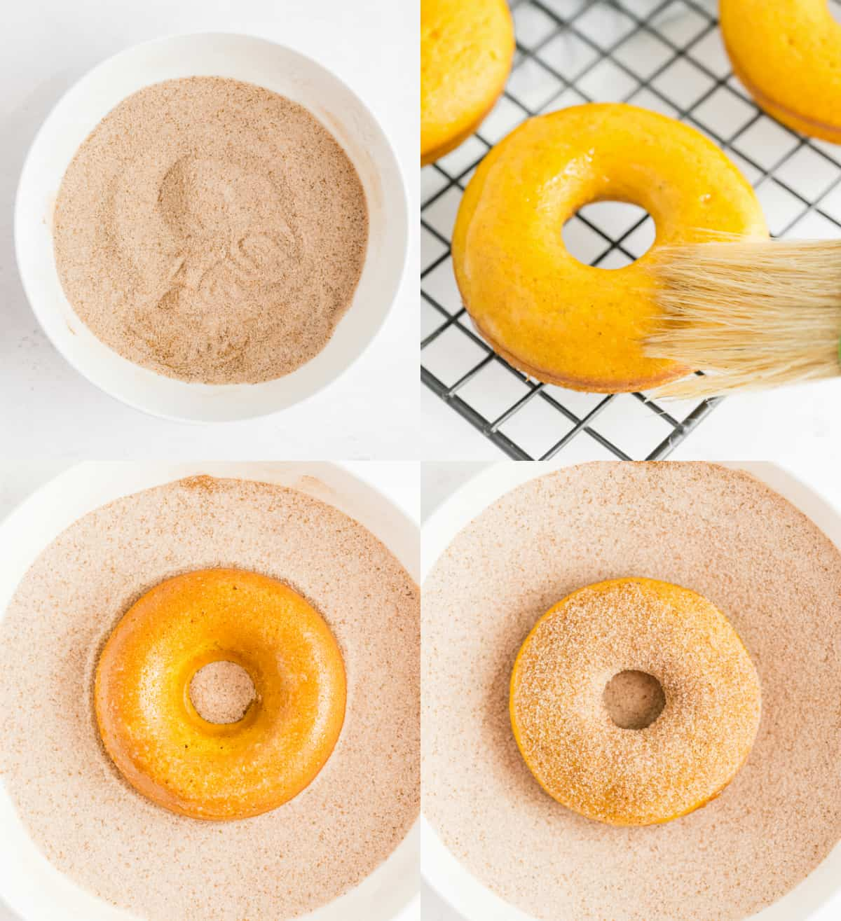 coating the donuts in cinnamon sugar topping