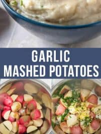 a big bowl of garlic mashed potatoes