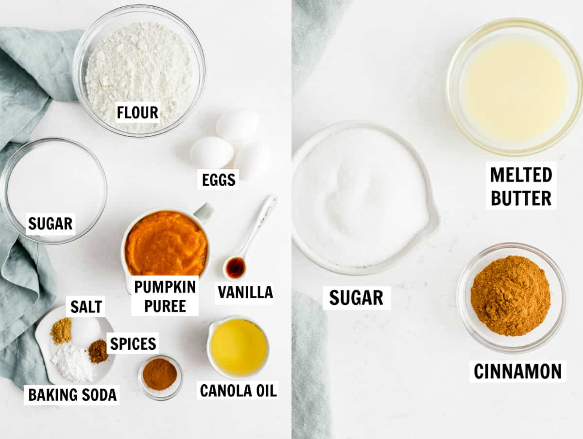 ingredients for baked pumpkin donuts
