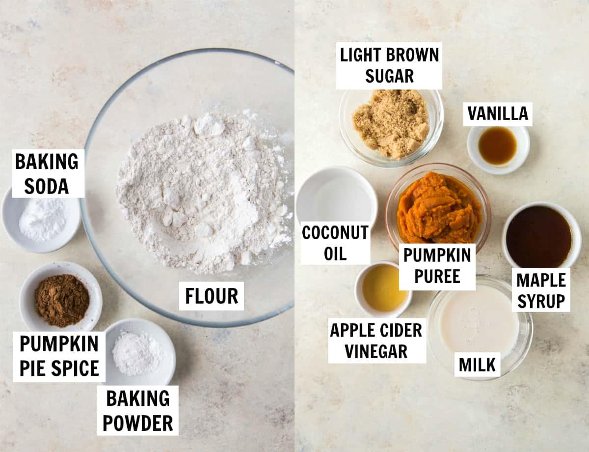 ingredients for vegan pumpkin muffins