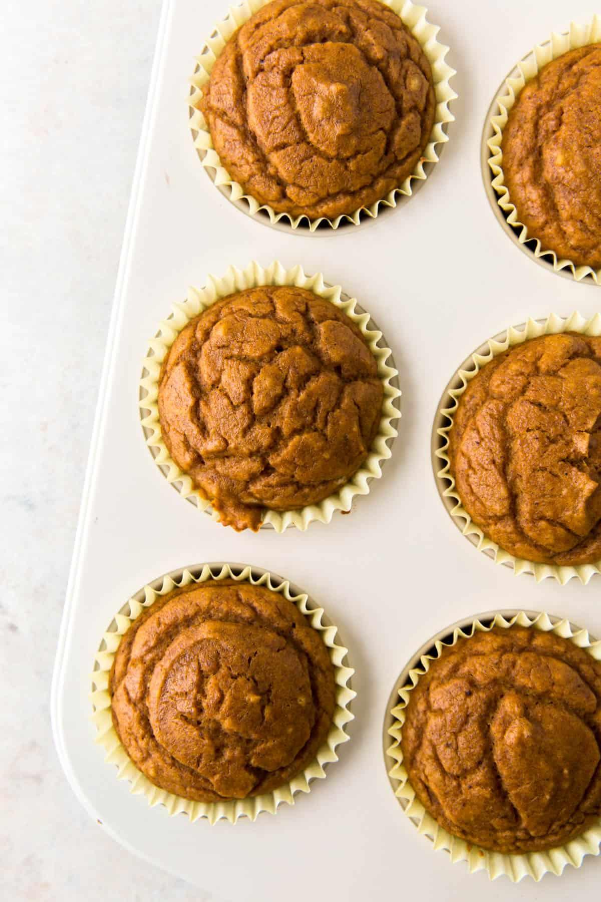 baked pumpkin muffins in a pan