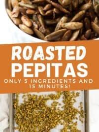 roasted pepitas on a baking sheet