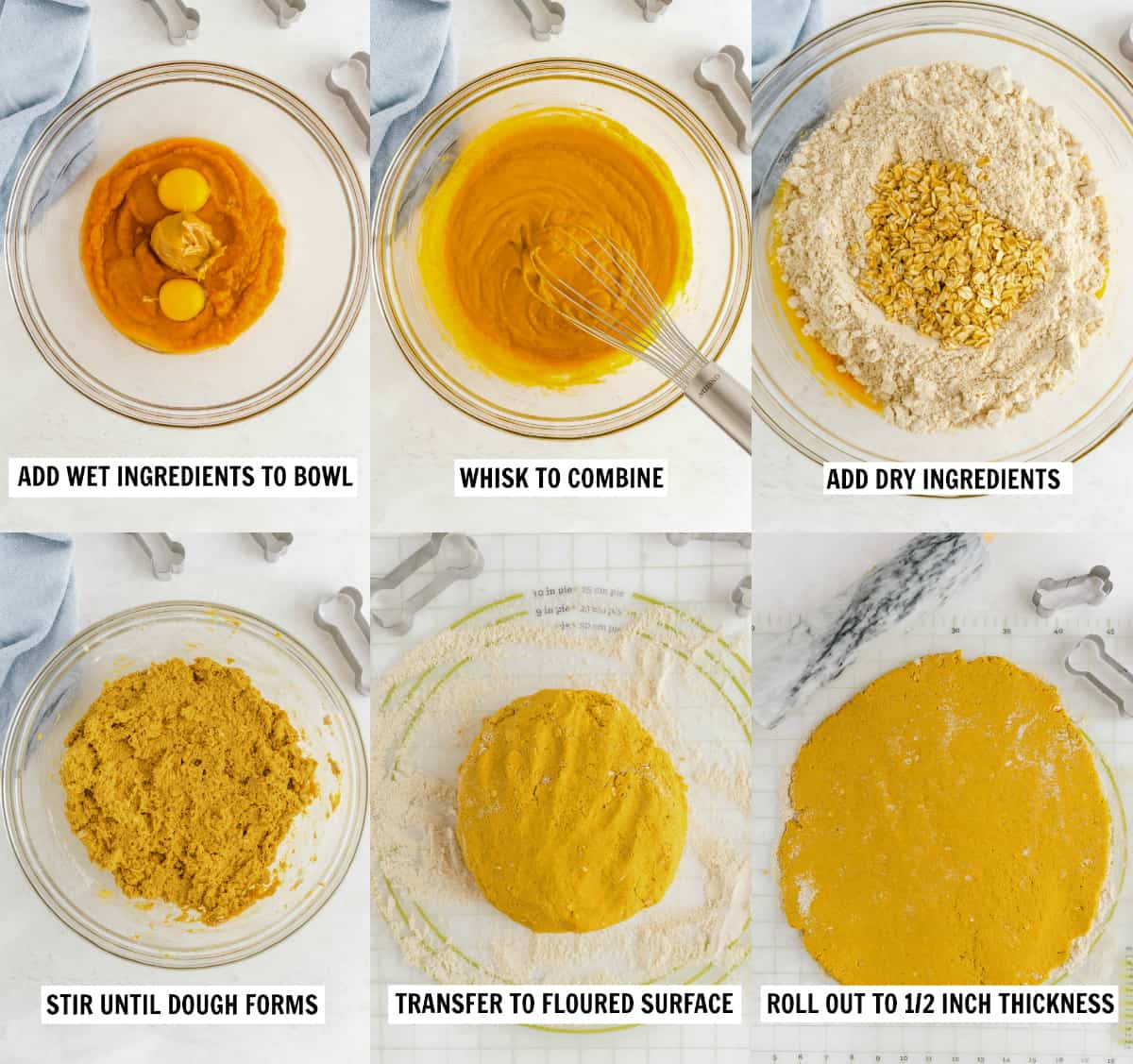 step by step collage of mixing ingredients in a bowl