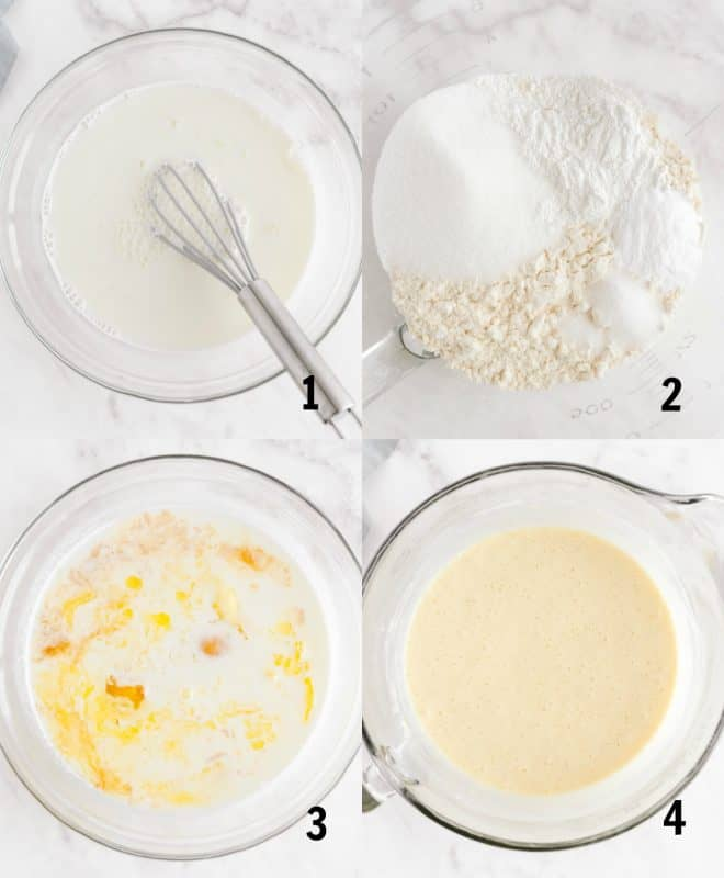 steps to mix together pancake batter