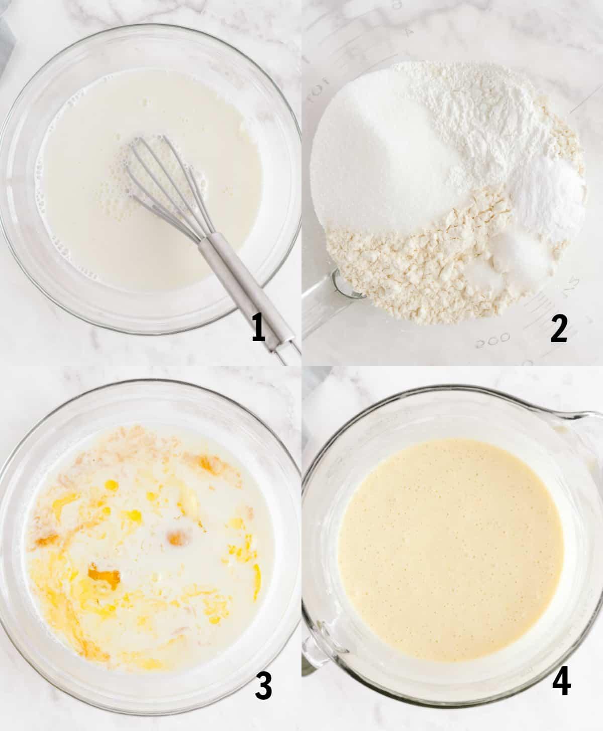 steps to mix together pancake batter