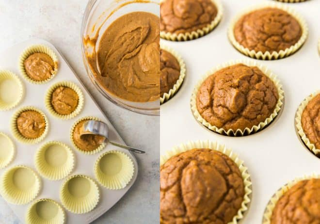 pumpkin muffins in muffin tin before and after baking