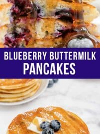stack of blueberry buttermilk pancakes on a plate
