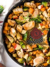 maple dijon chicken in a skillet