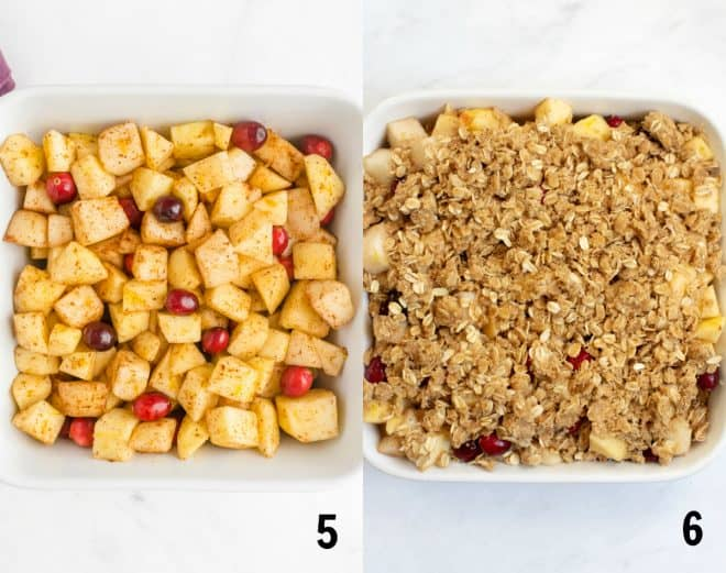 layering the fruit and topping in a white square baking dish
