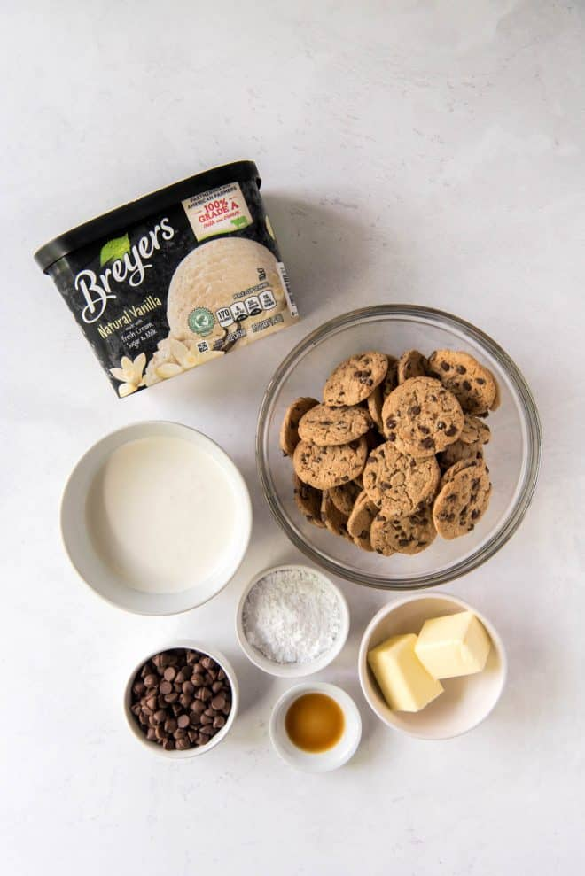 ingredients to make chocolate chip cookie ice cream cake