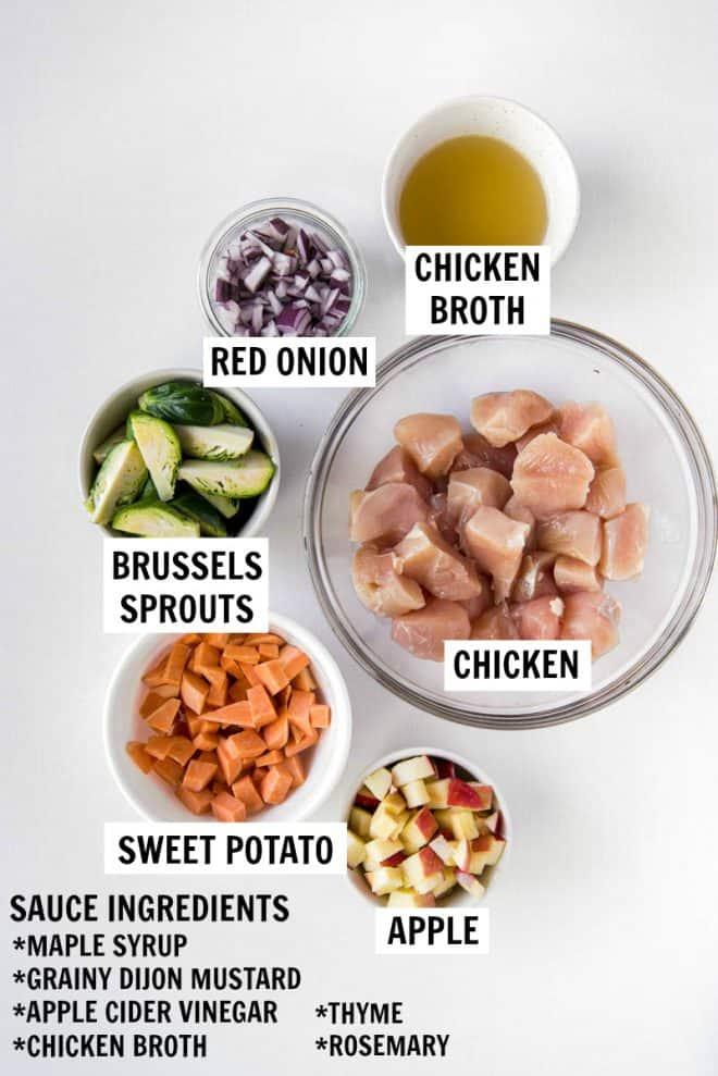 ingredients for maple dijon chicken skillet