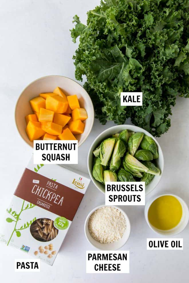 ingredients in pasta with brussels sprouts