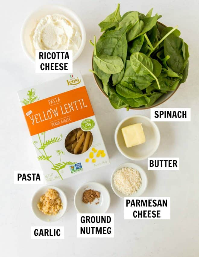 ingredients for spinach and ricotta pasta