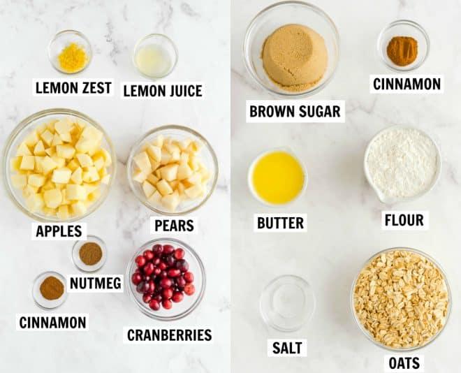 ingredients for pear cranberry apple crisp