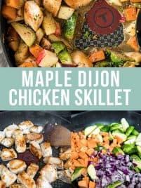 maple dijon chicken in a skillet