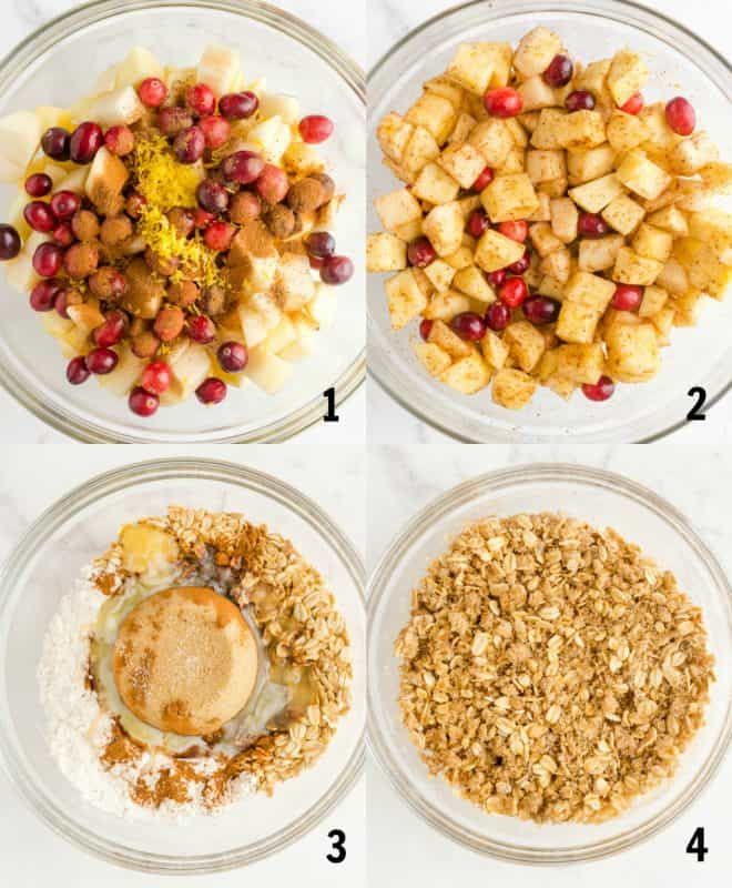 mixing together ingredients for pear cranberry apple crisp in a bowl