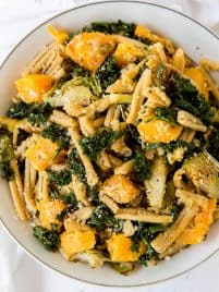 casarecce pasta with brussels sprouts, butternut squash and kale