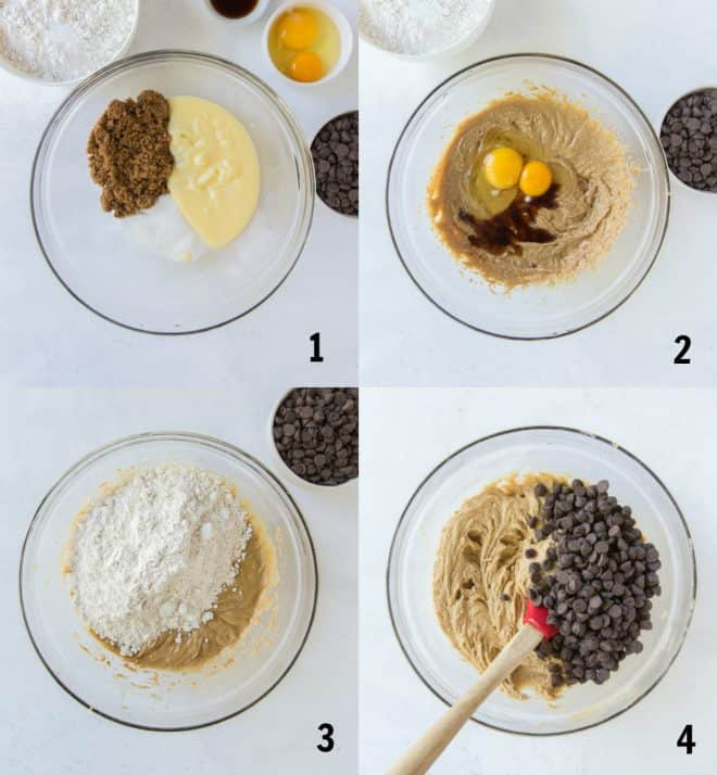 mixing together ingredients for chocolate chip cookies in a bowl