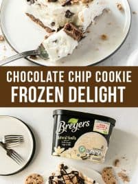 a slice of chocolate chip cookie frozen delight sitting on a plate