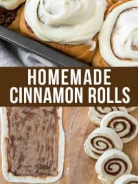 baked cinnamon rolls in a try with frosting