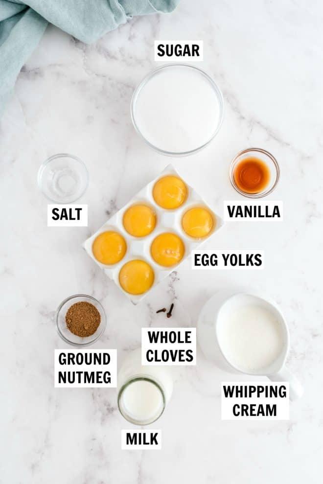 ingredients for homemade eggnog