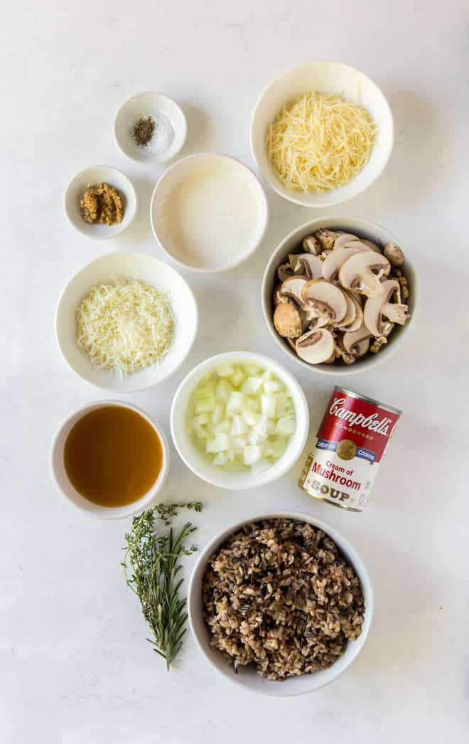 ingredients for mushroom and wild rice casserole