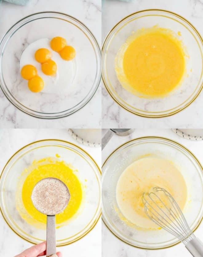 mixing together ingredients for eggnog