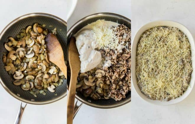 mixing together ingredients for wild rice casserole in a pan