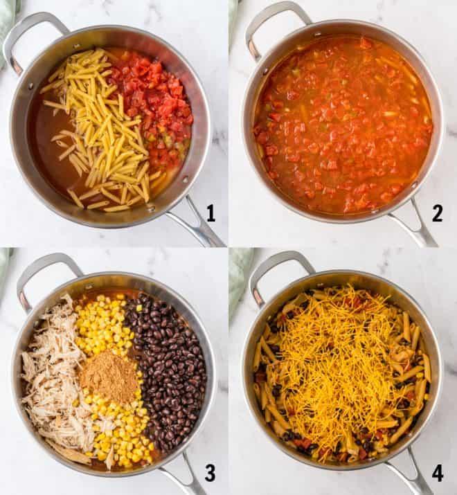 cooking ingredients for chicken enchilada pasta in skillet