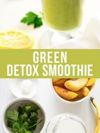 a green detox smoothie in a glass