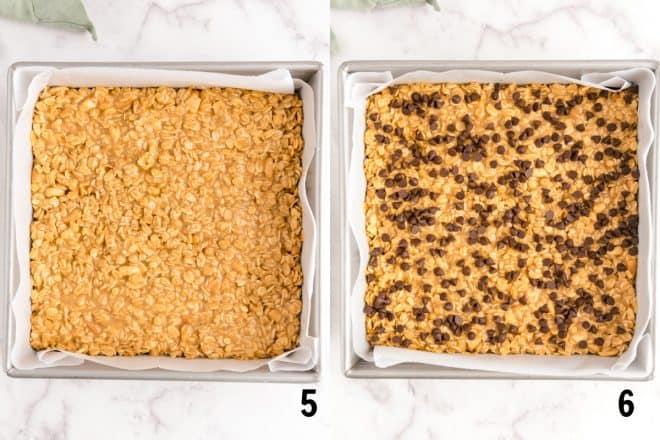 no bake granola bars chilling in pan